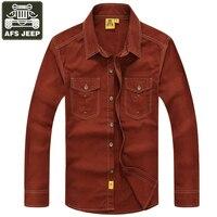 AFS JEEP Homens Da Camisa de Marca Camisas de Mangas Compridas Casuais Dos Homens novas Roupas de Outono Camisa Masculina Chemise Desgaste Puro Algodão Sólida Homme
