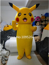 2016 new Adult size Pikachu Mascot Costume Cartoon Character Costumes Mascot Costume Fancy Dress Party Suit Free shipping