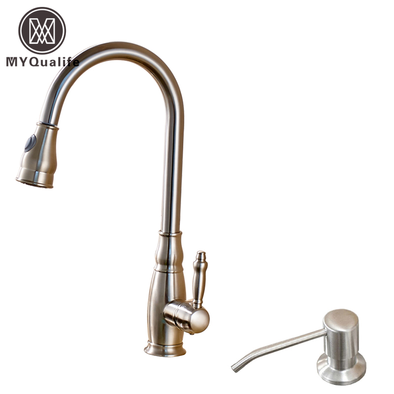 Good Quality Single Lever Bathroom Pull Out Kitchen Sink Faucet Deck Mounted with soap dispenser Hot and Cold Mixer Taps polished chrome deck mounted bathroom kitchen faucet tap single handle with brass soap dispenser