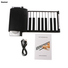 Portable Roll-Up 61 MIDI Soft Silicone Keys Flexible Electronic Piano Music Keyboard New free shipping