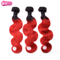 BY Brazilian Pre Colored Body Wave Raw Hair 1B RED Color One Piece Remy Human Hair
