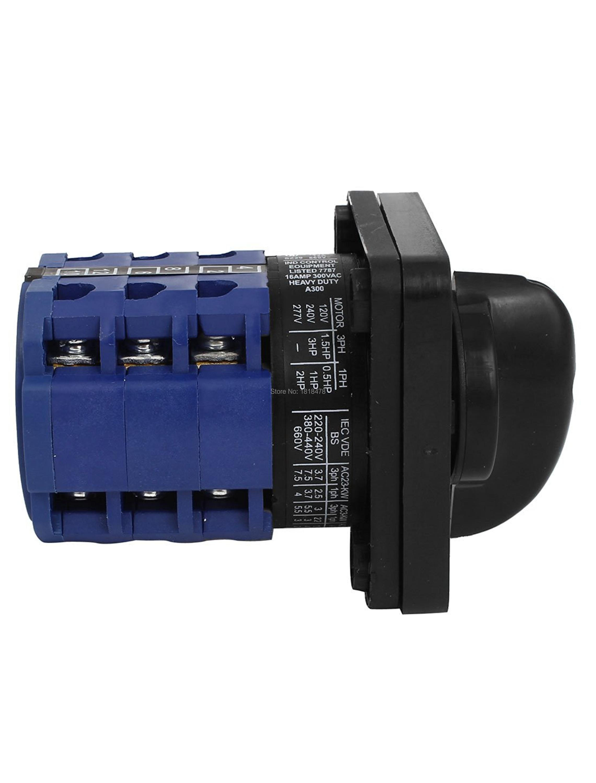 CA10 660V 12A 3Pole Universal Umschaltung Kombiniert Drehschalter Blau Schwarz