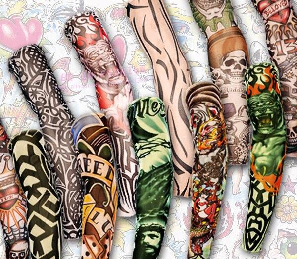 12pcs Mix Elastic Fake Temporary Tattoo Sleeve 3D Art Designs Body Arm Leg Stockings Tatoo Cool Men-women