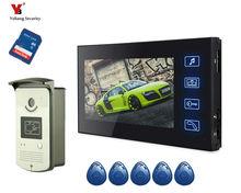 Yobang Security freeship 7Inch Color Record Screen Video Intercom Door Phone Kit + RFID Access Doorbell Camera+SD card