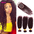 Cheap 7A Brazilian Curly Hair With Closure 3 Bundles Human Hair With Closure 99J Red Brazilian Hair Bundles With Lace Closures