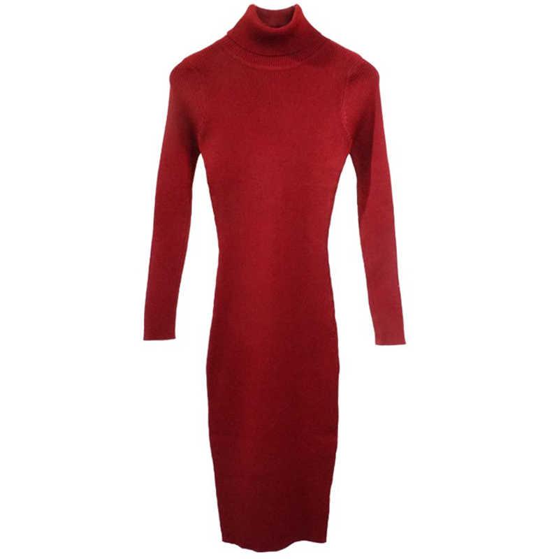 Mùa Thu Đông Nữ Dệt Kim Mặc Áo Len Cao Cổ Áo Nữ Slim Ôm Body Tay Dài Đáy Đầm Vestidos PP021
