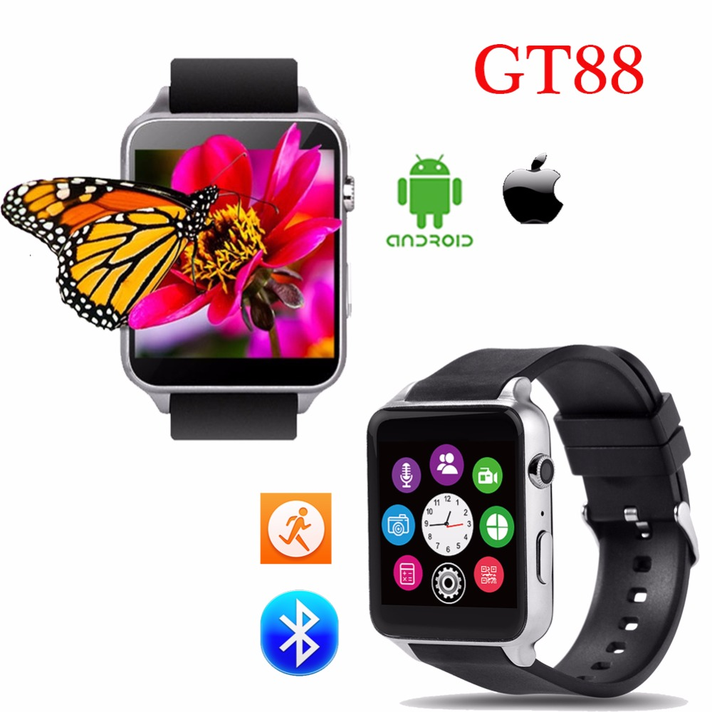 100 Original Heart Rate Monitor Bluetooth Smart watch GT88 with camera Support SIM TF Card For