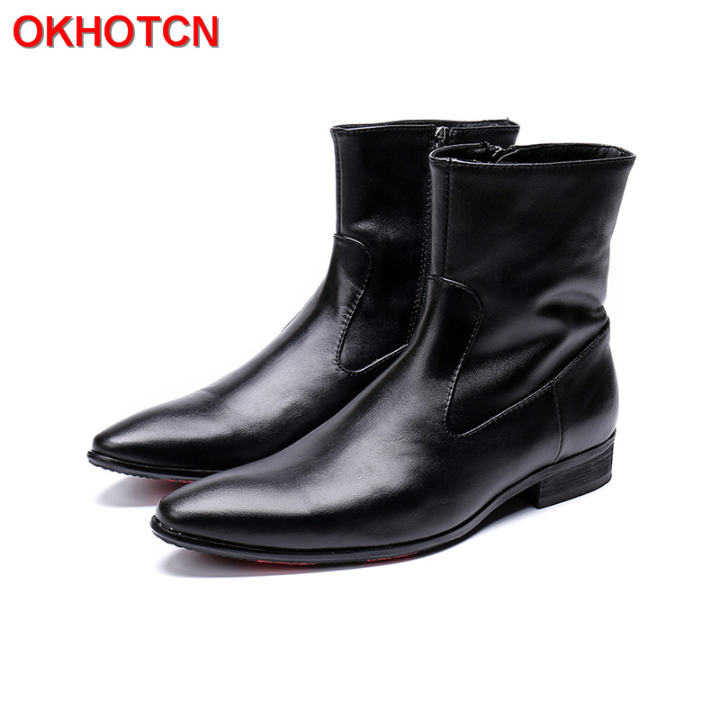 Pointed Toe Men Winter Boots Waterproof Genuine Warm
