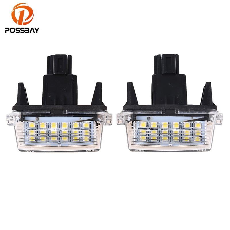POSSBAY 12V White LED Lights Car License Plate Light for 2012-2015 Toyota Camry 18 SMD LED Number Lamps Car Styling