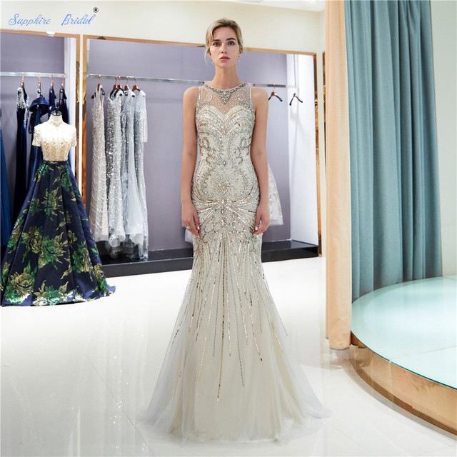 Sapphire Bridal 2019 Women s Formal Evening Gowns Tulle Huge Beading Sparkly  Scoop Sexy Mermaid Gold Silver eacdfad69367