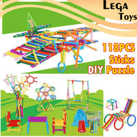 118PCS Sticks DIY Puzzle Click And Stack Toy Smart Different Shaped Rods Stick Straw Building