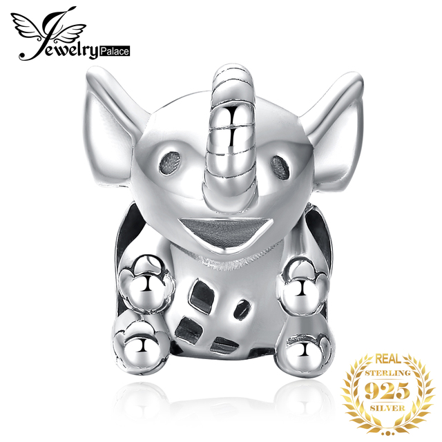 JewelryPalace Elephant 925 Sterling Silver Beads Charms Silver 925 Original For Bracelet Silver 925 original For Jewelry Making