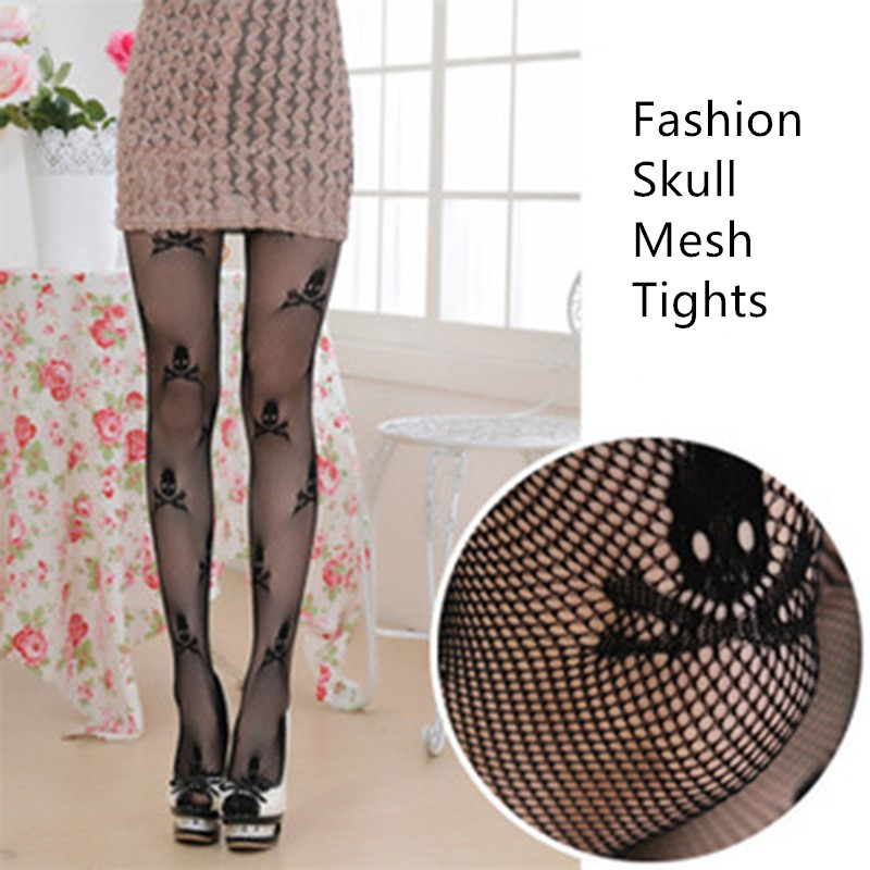 8a2e3902abf6f Jeseca Sexy Fashion Stockings High Pantyhose Fish Net Tights All Size Black  Seamless Hollow Skull Lady