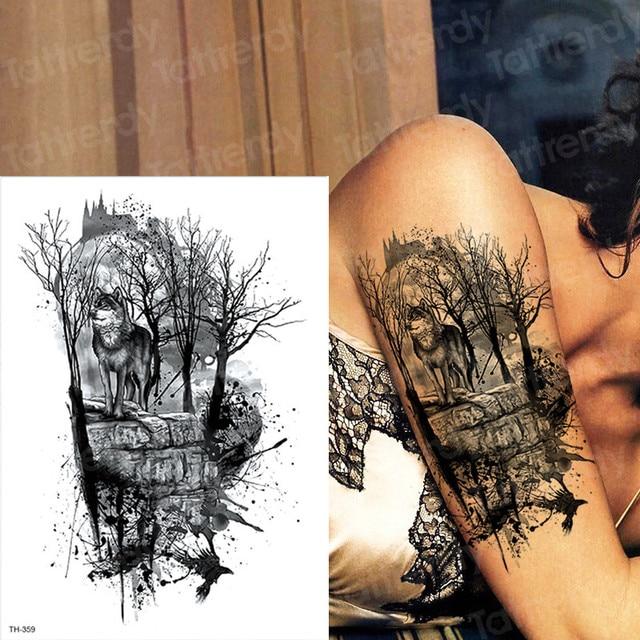Tatuajes Temporales A Prueba De Agua Hombres Tatuaje Bosque Lobo