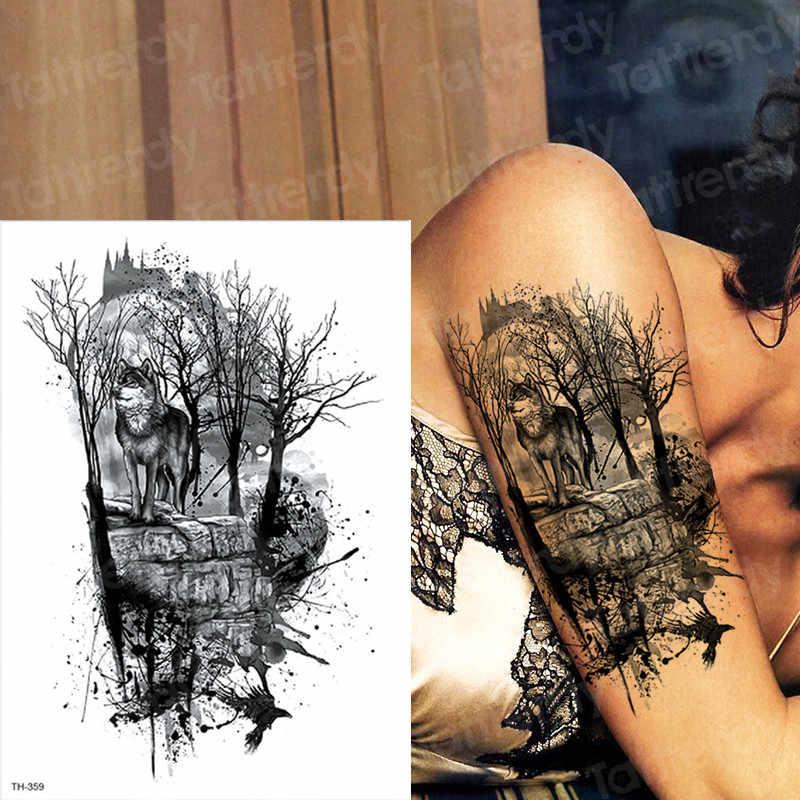 11ad28b20 waterproof temporary tattoos men tattoo forest wolf tattoo black large  tatoo for boys men arm tattoo