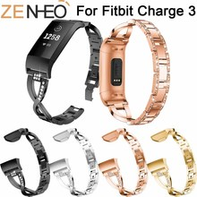цены For Fitbit Charge 3 Bands watchband Crystal Stainless Steel Watch Band Wrist band Strap Bracelet Watch Strap For Fitbit Charge 3