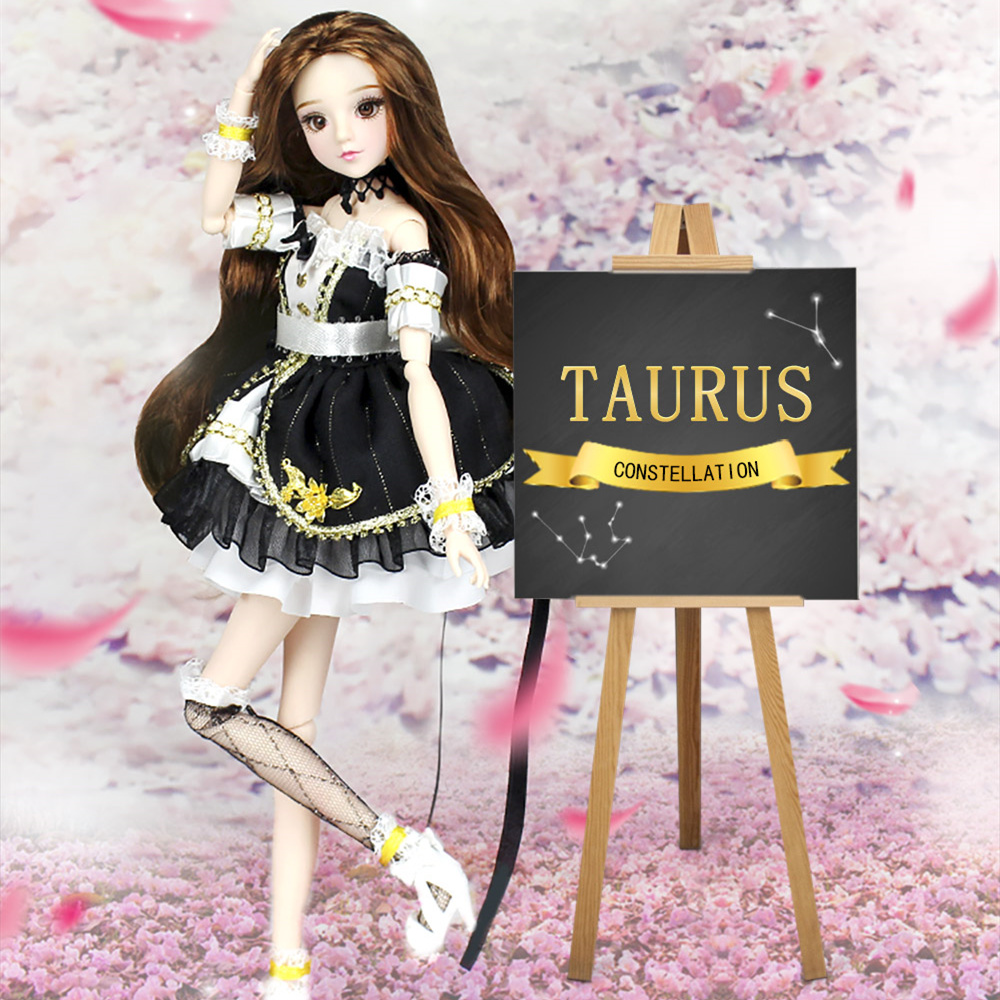 Fortune Days MMGirl 12 Constellation Taurus like BJD doll 1/6 30cm high 14 joint body latest black dress set