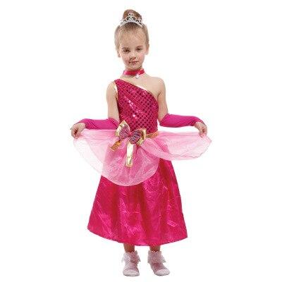 Детские костюмы Производительность Костюмы элегантный принцесса Персик розовое и красное платье принцессы Косплэй костюм супер Марио;