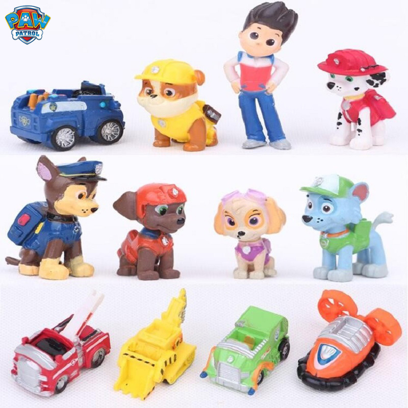12Pcs/set Paw Patrol Dog Puppy Patrol Car Patrulla Canina Action Figures Vinyl Doll Toy Kids Children Toys Gifts Free Delivery