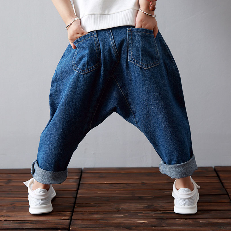 Kids Jeans Boys 2018 Spring FALL Casual Cute Baby Boy Harem Pants Kids PP Collapse Pants Jeans Boys Trousers Denim Pants 1-7Y destroy wash frayed harem jeans