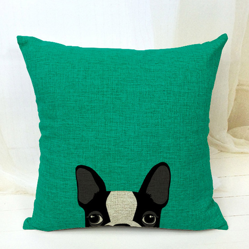 Free Shipping Boston Terrier Decorative Throw Pillows Almofadas Case For Sofa Car Bed 45x45 Cute Dog Cushion Cover Home Decore In From
