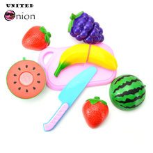 6pcs/set baby toy kids colorful funny Kitchen Pear food penetration play house Kitchen knife chopping board Cutting Cosplay toy(China)