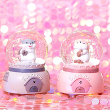 Hamster Elephant Crystal Ball Cartoon Animal Creative Resin Music Box Music Box Snowy Lantern Dream Birthday Christmas Gift dream box