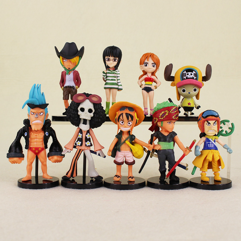 2017 Hot 9pcs lot One Piece luffy Joba s Adventure PVC Action Figure Model Doll font
