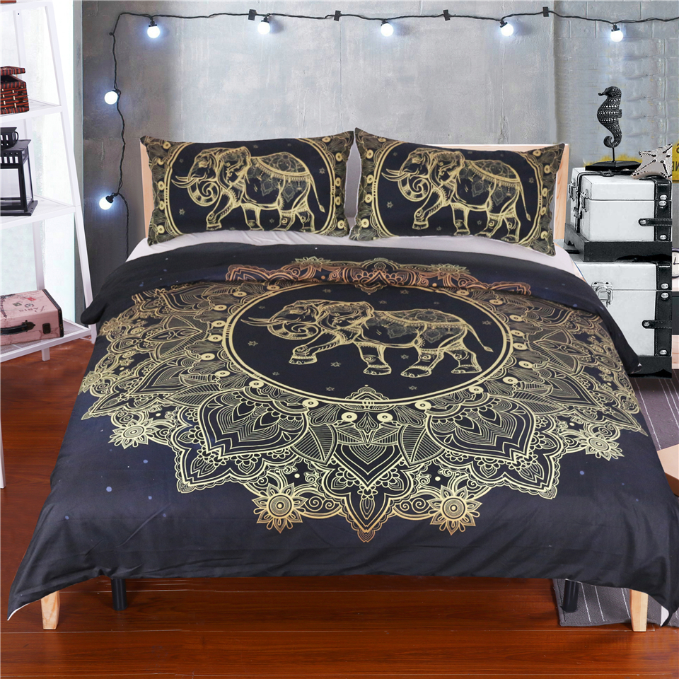 3 PCS Duvet Cover with 2 Pillow Shams Elephant Bedding Sets Queen Size Mandala Pattern Bedding Printed Bedding Sheet