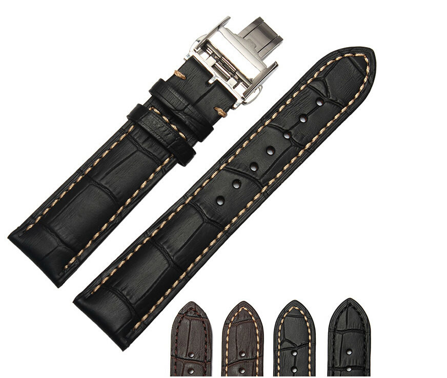 Watch Accessories 18mm 19mm 20mm 21mm 22mm New High Quality Black Genuine Leather Strap Steel Buckle