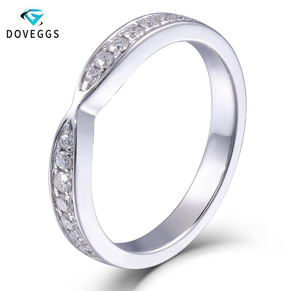 DovEggs Elegant Platinum Plated Silver Heart and Arrow Cut Moissanite Diamond Half Eternity Anniversary Wedding Band