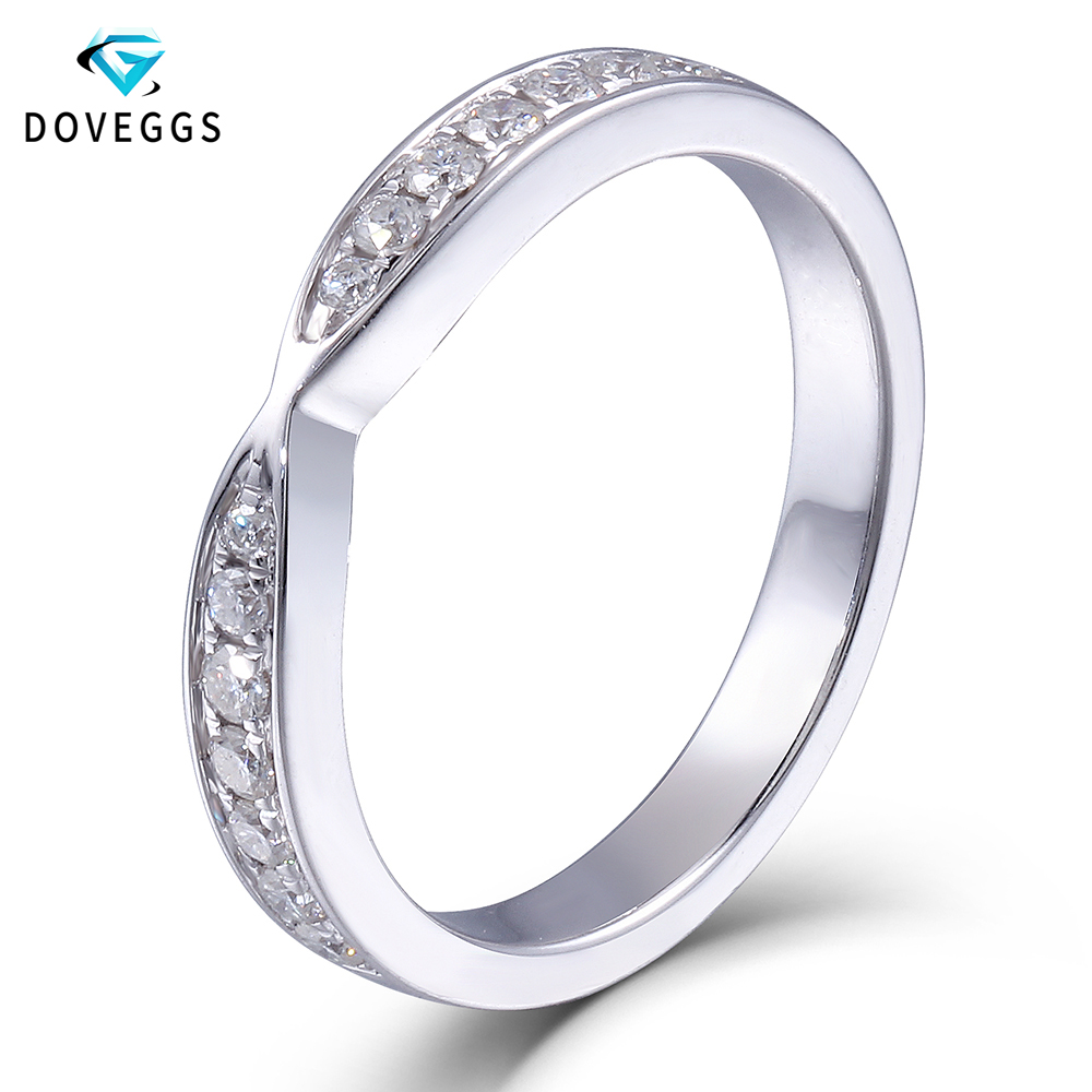 DovEggs Elegant Platinum Plated Silver Heart and Arrow Cut Moissanite Diamond Half Eternity Anniversary Wedding Band Ring