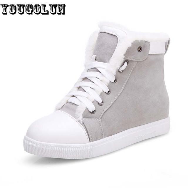 Yougolun invierno mujeres nieve botas de señoras los colores mezclados botines moda mujer negro gris amarillo lace up zapatos aumento de la altura