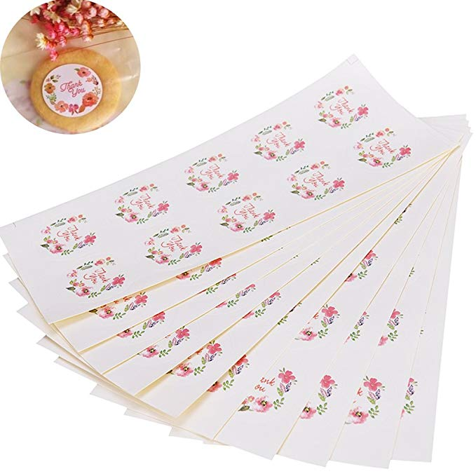 300pcs Flower Round Thank You Label Stickers Seals Labels For Gifts Student Stationery Supply Stickers Scrapbooking