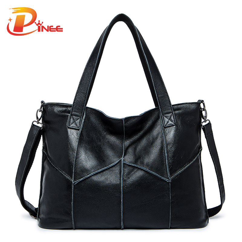 ФОТО Women Handbag Genuine Leather Shoulder Bag Female Bags Cowhide portable Shopping Bag Vintage Large Capacity Tote Bags
