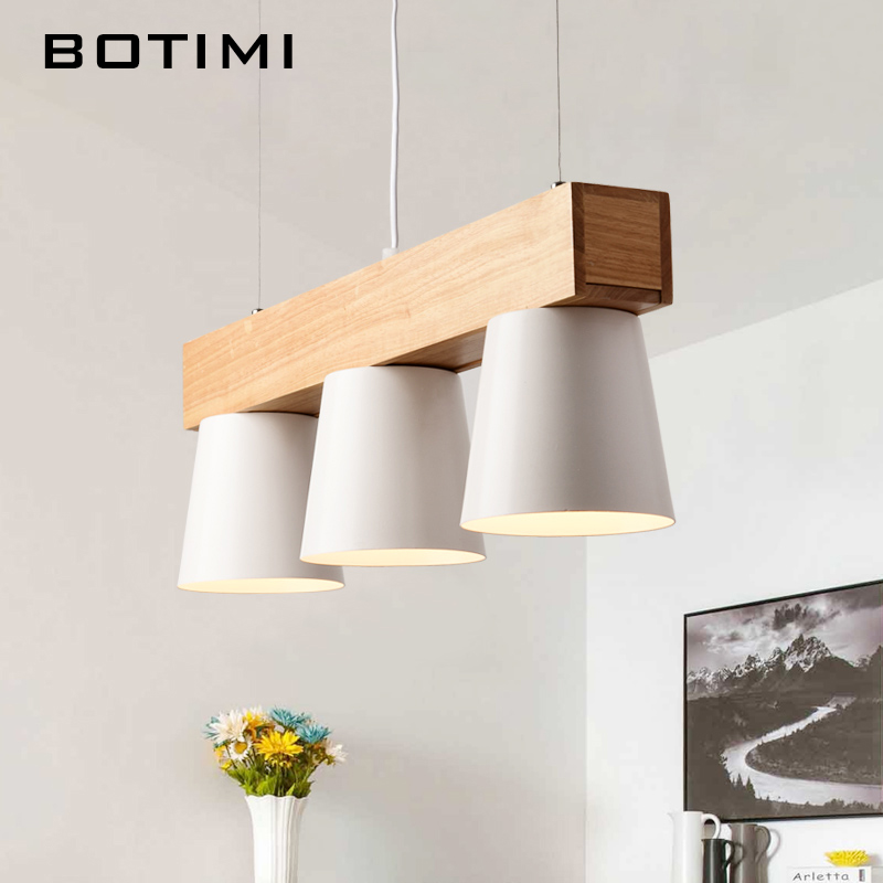 Botimi Nordic Design Pendant Lights With Triple Metal Lampshade Lamparas Colgantes Modern Wood Hanging Lamp E27 Suspension LightBotimi Nordic Design Pendant Lights With Triple Metal Lampshade Lamparas Colgantes Modern Wood Hanging Lamp E27 Suspension Light