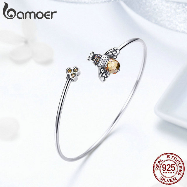 BAMOER 925 Sterling Silver Crystal Bee And Honeycomb  3