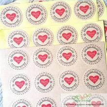 "120PCS ""Thank you"" Heart Round eco-friendly Kraft Stationery label seal sticker/Students' DIY Retro label For handmade products"