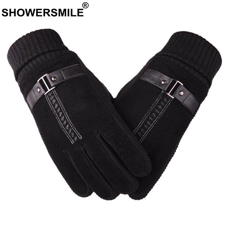 SHOWERSMILE Men Pigskin Gloves Winter Real Leather Black Brown Warm Male Gloves Brand Leather Motorcycle For Men