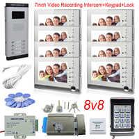 """ビデオ録画ビデオドア電話アクセス制御キーパッドドアホンインターホンキット 8 ユニットのためのインターホンで画面メモリ色 7"""""""