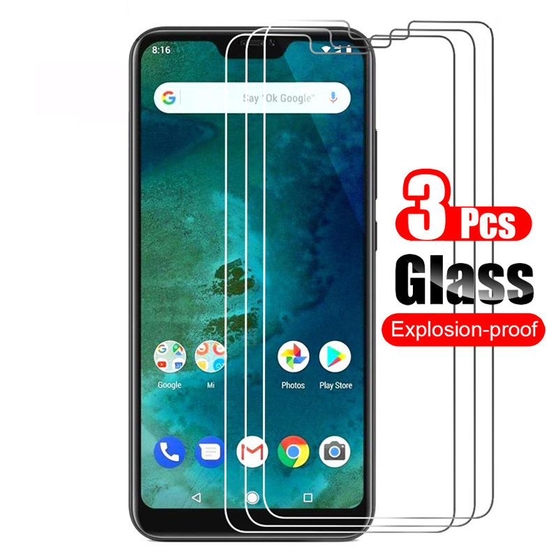 3Pcs For Xiaomi Mi A2 Lite Tempered Glass Screen Protector Protective Film 9H Scratch Proof Glass For Xiaomi A2 Lite