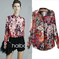 2016 Fall Fashion For Women Clothing Plus Size Retro Floral Print Chiffon Blouse Long-Sleeve Casual Tie Dye Shirt Chemise Femme