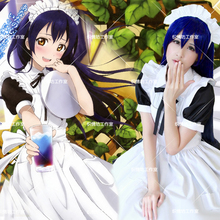 Anime love live sonoda umi lolita dress maid cosplay disfraces de halloween party dress + delantal + headwear + tie + medias