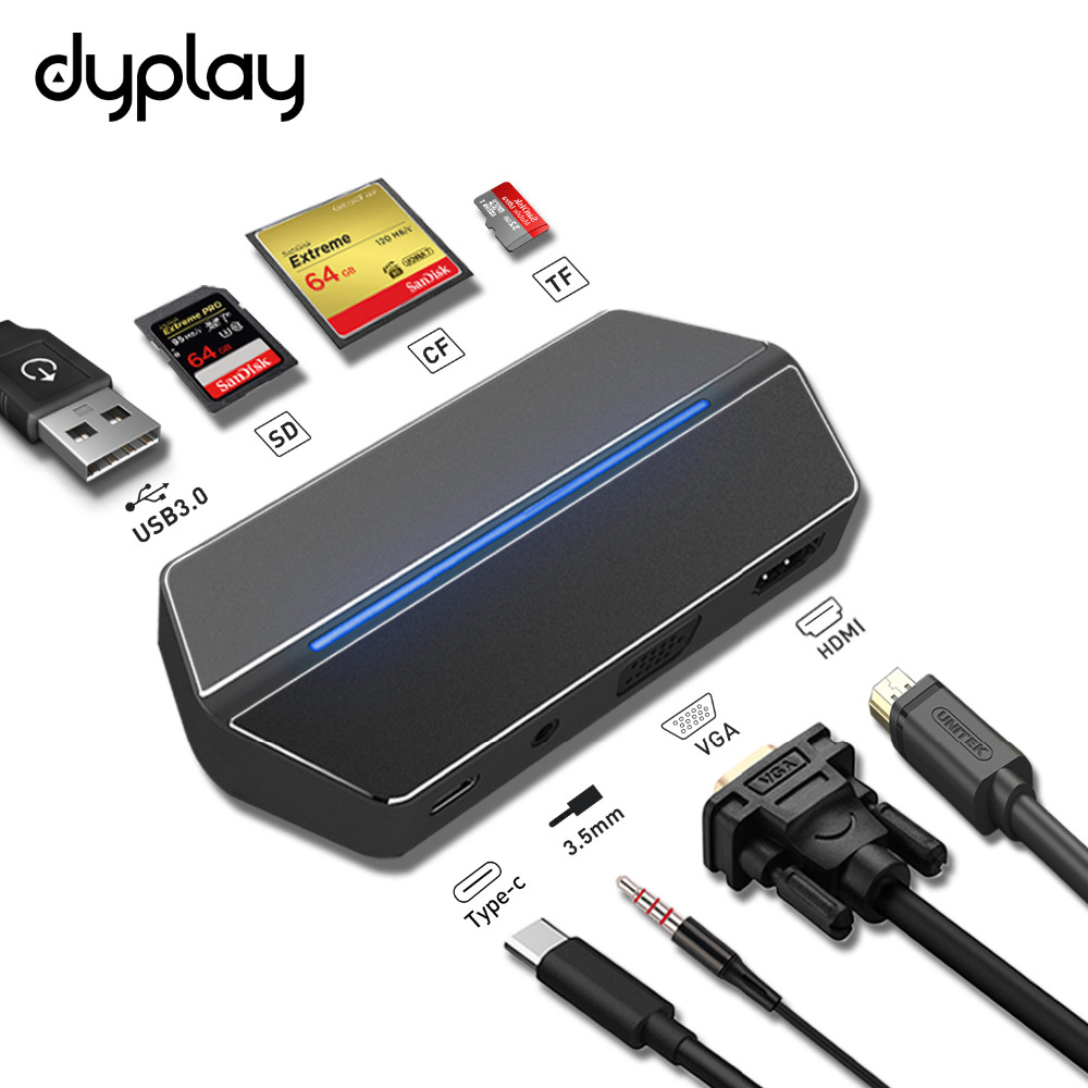 dyplay USB Type C Hub Adapter,Multiport 8 in 1 Combo Hub w/ HDMI/VGA Port,USB 3.0/3.5mm Audio, CF/SD/TF Card Reader Travel Dock ifound 8800mah dual usb mobile power source w sd card reader led flashlight golden