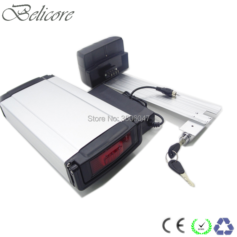 free shipping lithium ion battery 36v 10ah rear rack style lithium electric bike battery with BMS and 2A charger