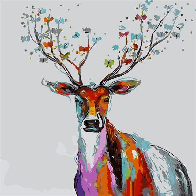 Frameless el Color deer 2 Animal pintura por números Kits coloración ...