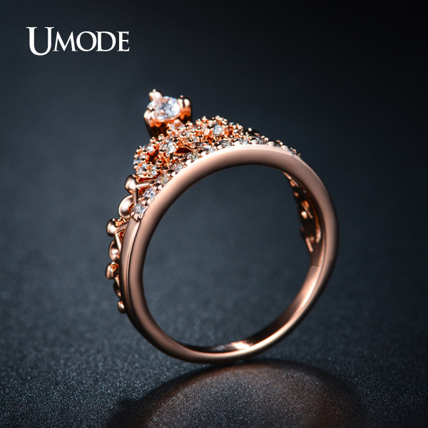UMODE CZ Crystal Fashion Crown Ringar För Kvinnor Rose Gold Color - Märkessmycken - Foto 4