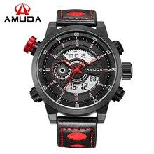 AMUDA AM2028 Hombres Deportes Relojes Analógico Digital de Cuarzo 3ATM Impermeable de Moda de Buceo Militar Reloj Relogio Masculino Reloj Regalos