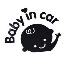 Funny Car Stickers Baby In Car Waving Baby On Board Safety Sign Car Decal / Sticker For BMW E46 Ford Focus 2 Volkswagen Toyota(China)