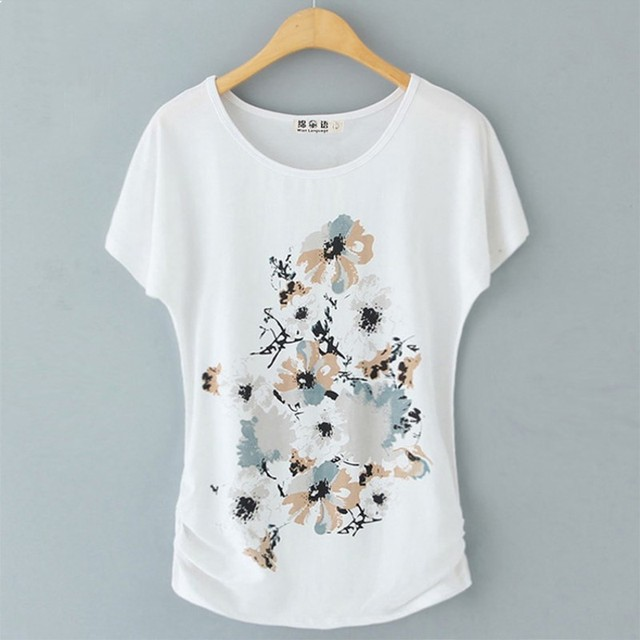 M-4XL Summer Female T Shirt New Arrive Women's Short-sleeve White Cotton T-shirt Female Loose Batwing Sleeve O-neck T-Shirt